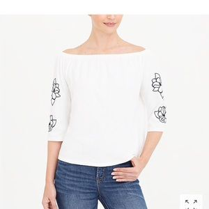 J.Crew factory embroidered off the shoulder top